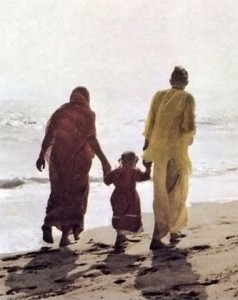 Hare Krishna Devotee Family Walking on Venice Beach