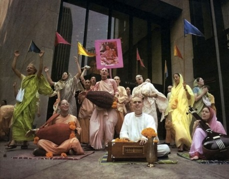 Devotees Chanting Hare Krishna Sit-down Kirtan in public in the USA