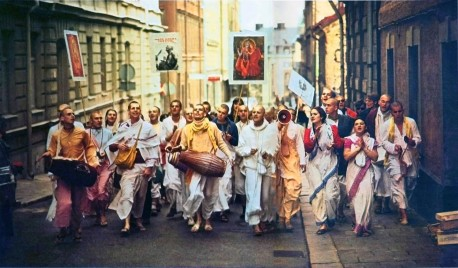 Heidelberg, Germany Hare Krishna Sankirtan (street chanting, kirtan) 1973.