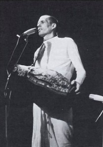 Hamsadutta dasa leads Hare Krishna Kirtan at a festival in Heidelberg, Germany, 1973.