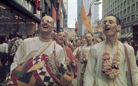Hare Krishna Devotees on Street Sankirtan, Kirtan, in USA, 1973.