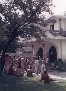 Devotees outside the Hare Krishna Temple, Mexico City, Mexico, 1973