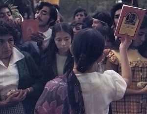 The books of His Divine Grace, A.C. Bhaktivedanta Swami Prabhupada, distributed in over 10 languages around the world, are seen here in Mexico City. 1973.