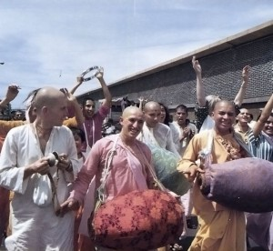After chanting and feasting for some time, a large party gathered to chant Hare Krishna downtown. Mexico City, 1973.