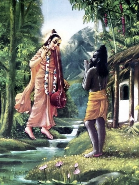 Narada Muni visits his disciple, the ex-hunter.