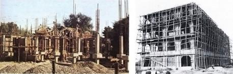Construction at ISKCON Mayapur, India, 1973.