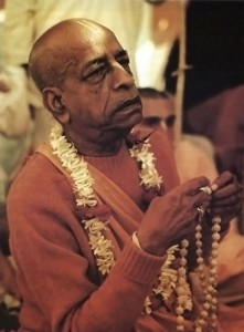Srila Prabhupada performing Mantra Meditation (chanting Hare Krishna japa on tulsi beads)