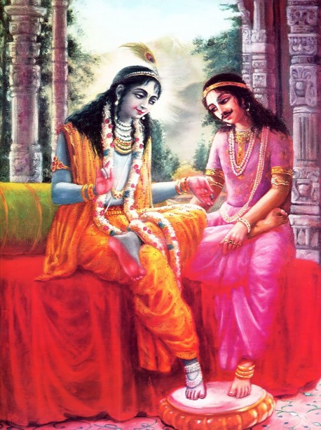 Although Krishna is the Supreme Lord He acts as a personal friend to a devotee like Arjuna.
