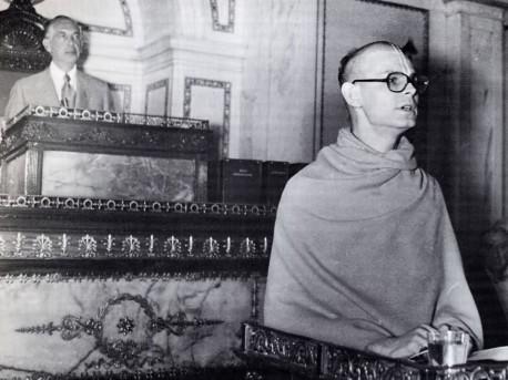 Ravindra Svarupa presenting invocaton at Philedalphia 1973