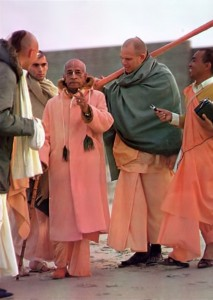 Srila Prabhupada pointing on morning walk 1973 Venice Beach Los Angeles CA