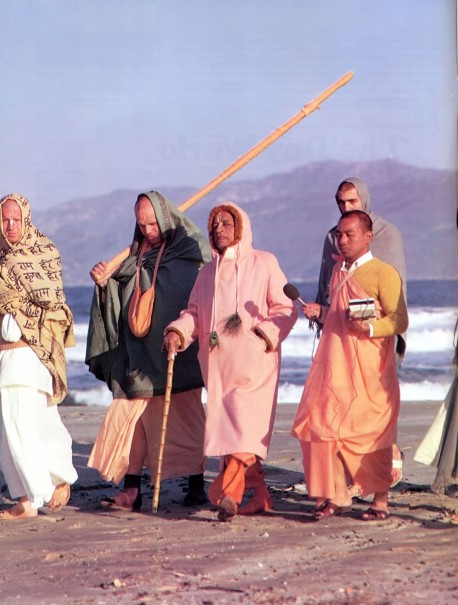 Srila Prabhupada on morning walk 1973 Venice Beach Los Angeles CA