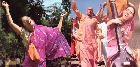 Sankirtan--ISKCON Chanting Hare Krishna in the streets of New York City, 1974.