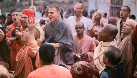 ISKCON Hare Krishna Devotees performing sankirtan (congregational chanting) in India. 1974.