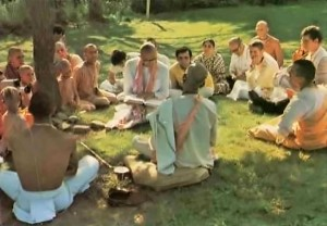 Srila Prabhupada speaks to devoees at ISKCON New Vrindavan. 1974.