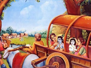 Krishna and Balaram Riding on a cart.