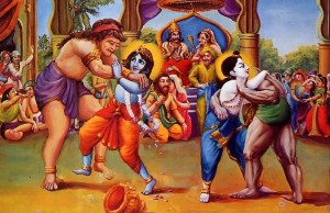 Krishna and Balarama fought with Kamsa's wrestlers.