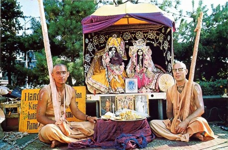 Visnujana Swami and Tamal Krishna Gosvami with Radha Damodar Traveling Sankirtan Party Deities