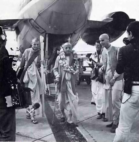 Srila Prabhupada alights from Airplane - 1974