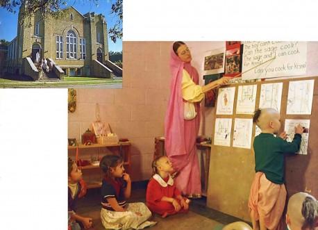 The Gurukula auditorium & A God-centered English lesson. ISKCON Gurukul Dallas Texas 1975.