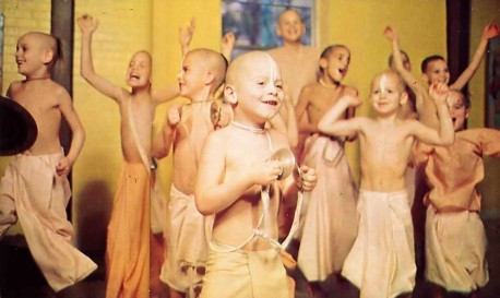 Chanting Hare Krishna is blissful! Shining with spiritual happiness, Gurukula children spontaneously chant the holy names of God. 1975