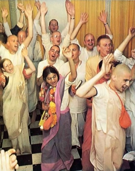 Kirtan after initiation ceremony. ISKCON. 1975.