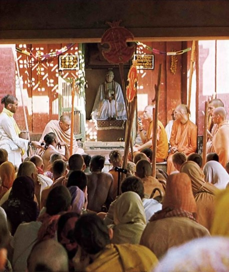 ISKCON devotees from around the world chant to honor Srila Thakura Bhaktivinoda at his home in Godruma-dvipa.