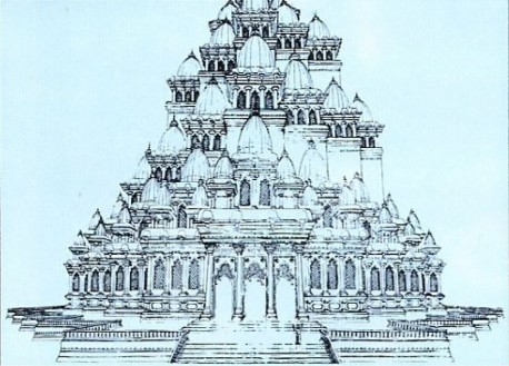 A sketch of the temple planned for the ISKCON World Center in Mayapur. When completed, it will be one of the largest temples in India