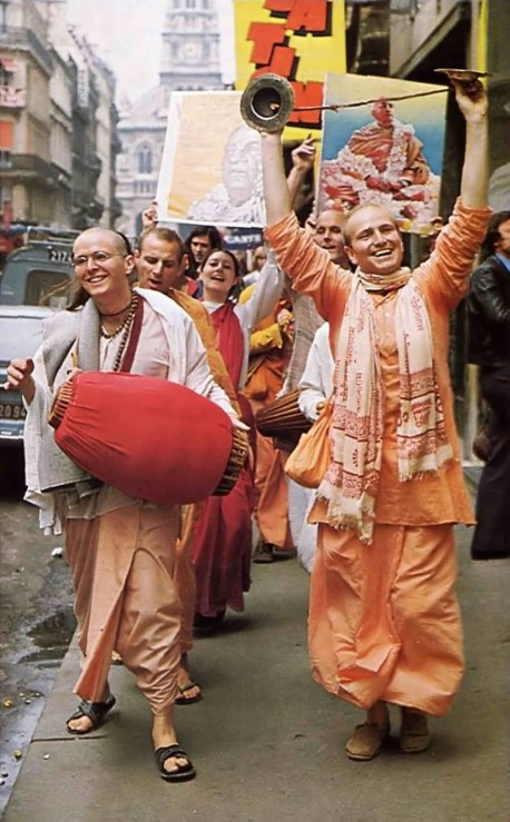 Chantng Hare Krishna in the streets. 1975.