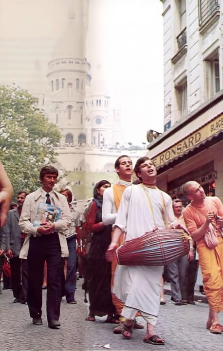 Sankirtana in Paris, France. ISKCON 1975.
