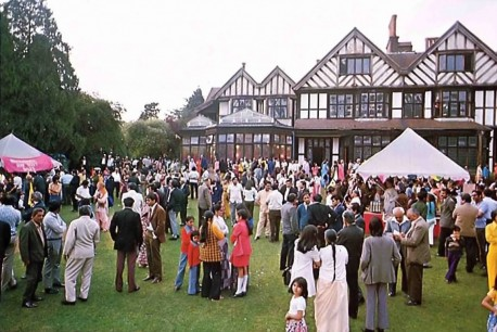 Friends of ISKCON from the London area gather at the Bhaktivedanta Manor for the Janmastami festival. 1975.