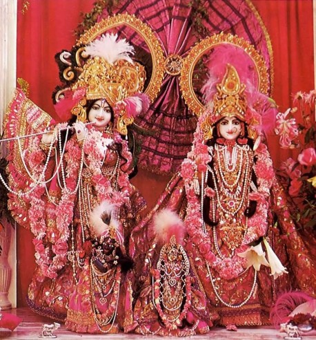 Smiling affectionately, the Deities greet visitors to Bhaktivedanta Manor. ISKCON London 1975.