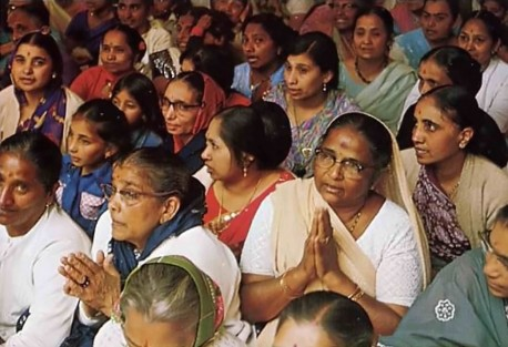 Indians chanting Hare Krishna at Bhaktivedanta Manor. 1975.