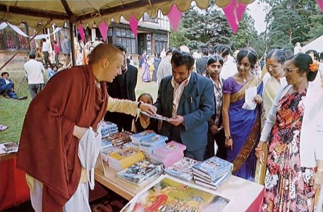 Indians purchasing Prabhupada's books at Bhaktivedanta Manor. 1975.