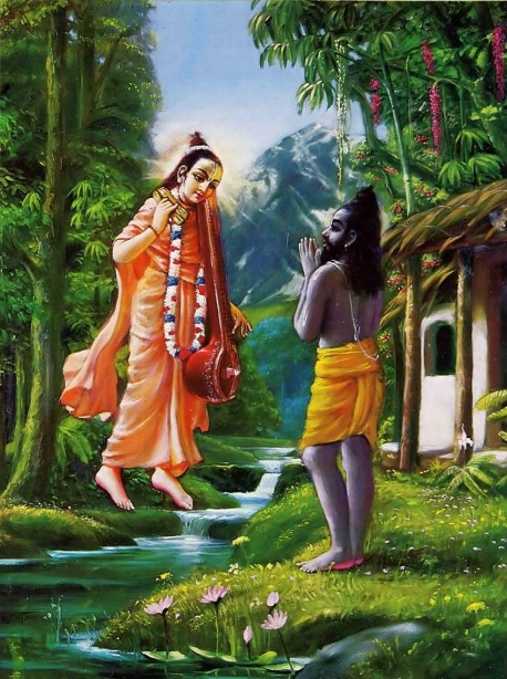 Srila Vyasadeva receives inspiration to compile Srimad-Bhagavatam from his spiritual master, Narada Muni.