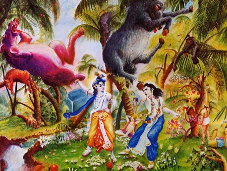 Krishna and Balarama kill the ass demon in the Vrindvan Forrest.