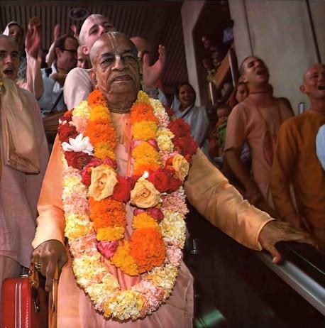 Srila Prabhupada arrives at the Airport -- Los Angeles 1975.