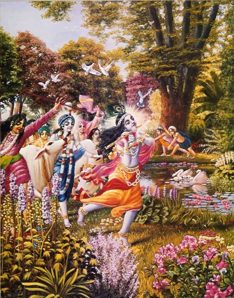 The highest perfection of the eyes is to see Krishna and Balarama entering the forest and playing Their flutes and tending the cows with Their friends.