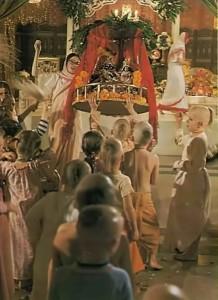 ISKCON Gurukul Students push Radha-Krishna on a swing in Hare Krishna Temple Function. 1975.
