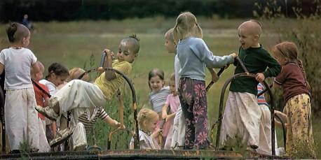 ISKCON Gurukul students play. Dallas, Texas. 1975.