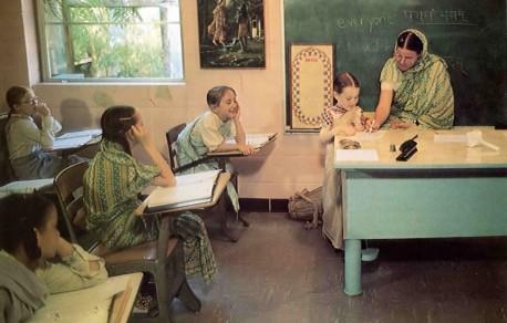 Peaceful classrooms insure high standard of education at Gurukul. ISKCON Dallas, Texas, 1975.