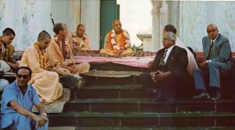 Srila Prabhupada and his disciples meet with Mr. Gungab and Mr. Teelock.
