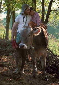 Hare Krishna devotee and son riding on calf at New Vrindvan, the Hare Krishna Farm community, 1975.