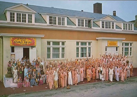 Devotees outside the Chicago center of the International Society for Krishna Consciousness.