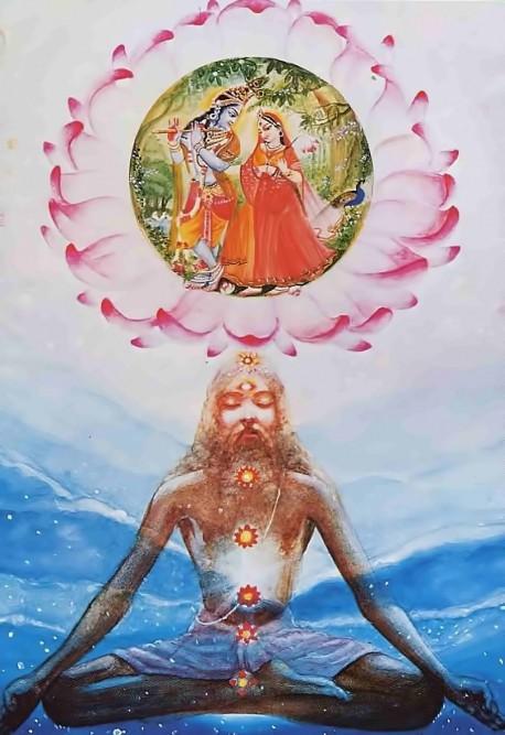 Painting of Yogi Meditating on Radha-Krishna