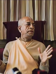 Srila Prabhupada preaching about yoga and meditation to a press reporter. 1976.