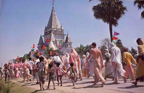 Nearing the spires and five-tiered tower at the birthplace of Lord Caitanya, worldwide delegates of ISKCON make their annual springtime pilgrimage.