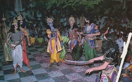 At opening celebration last April, nightly dramatic performances in temple courtyard bring to life India's vast Vedic literature. 1975.