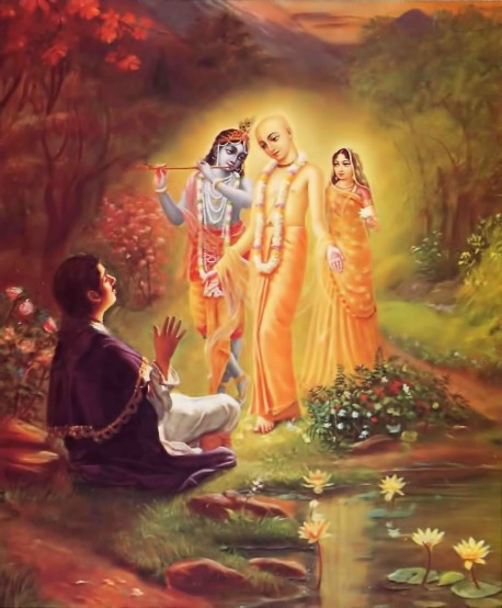 Lord Caitanya reveals Himself as the combined form of Radha and Krishna to His pure devotee Ramananda Raya