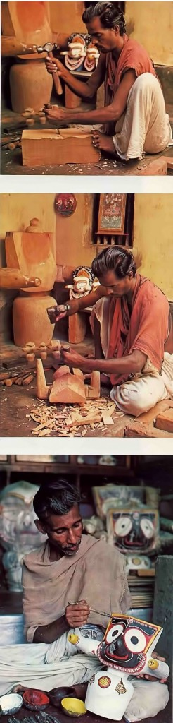 Carving and painting Jagannatha Deities is a longstanding tradition for the craftsmen of the Mahapatra family of Puri. 1976.