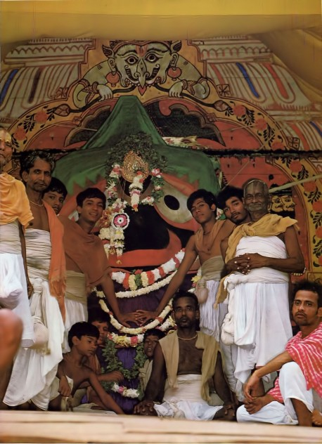 Lord Jagannatha, the Lord of the Universe, on His Cart at Rathayatra Festival Puri 1976.